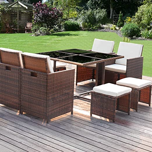 Amazon.com: Homall 9 Pieces Patio Dining Sets Outdoor Furniture .