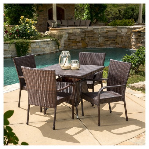 Wesley 5pc Wicker Patio Dining Set - Brown - Christopher Knight .