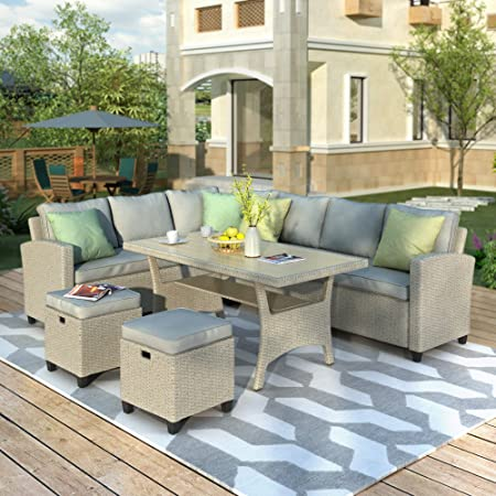 Amazon.com: Merax Patio Dining Sets, 5 Piece Outdoor Conversation .