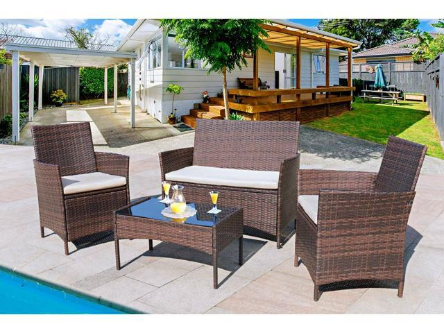 Homall 4 Pieces Outdoor Patio Furniture Sets Clearance Rattan .