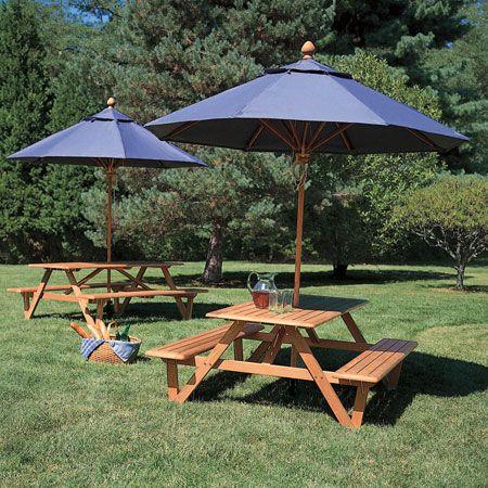Teak Wood Picnic Table with Umbrella Hole - Larchmont Picnic table .