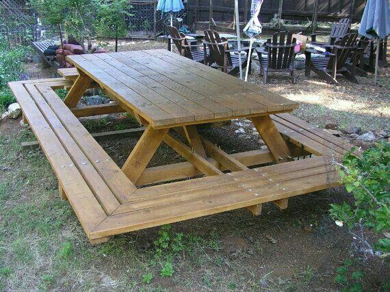 Wrap around picnic table @bradnaylor | Picnic table, Picn