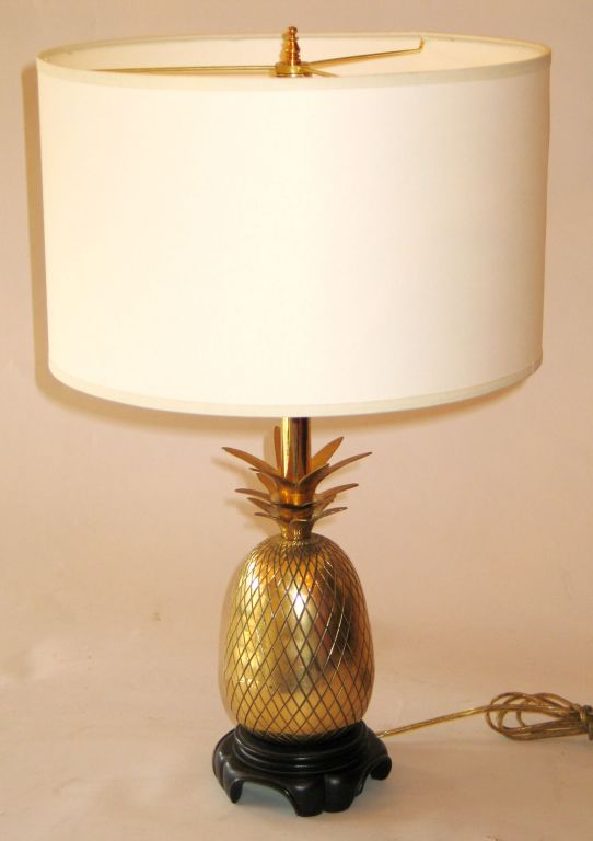 Pair of Solid Brass Pineapple Lamps Attributed to Charles at 1stdi