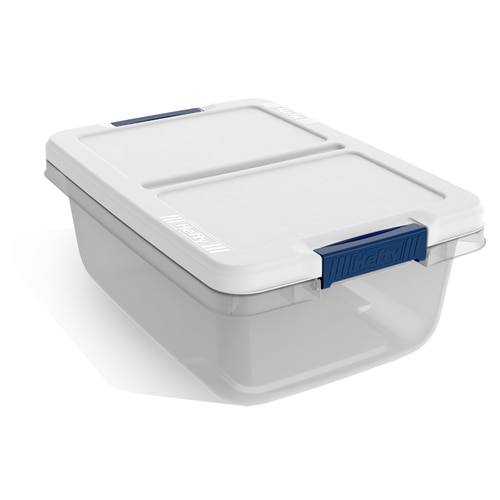 Hefty 3.75-Gallon (15-Quart) Clear Base with White Lid Tote with .