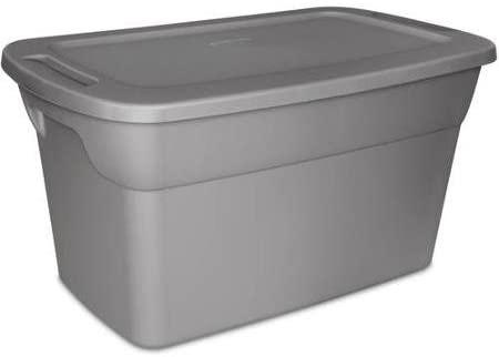 Amazon.com: Sterilite 30 Gallon Tote Plastic Storage Box- Steel .