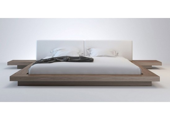 Wanda Walnut & White Modern Platform Bed | Contemporary Be