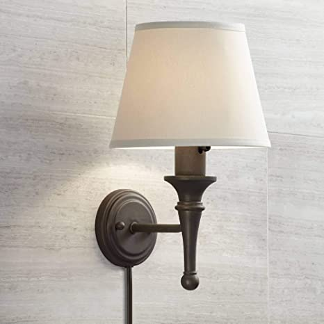 Braidy Farmhouse Cottage Wall Lamp Bronze Plug-in Light Fixture .
