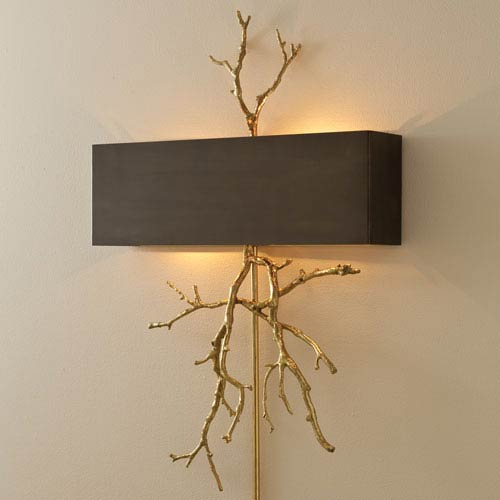 Global Views Brass Two Light Twig Plug In Wall Sconce With Bronze .