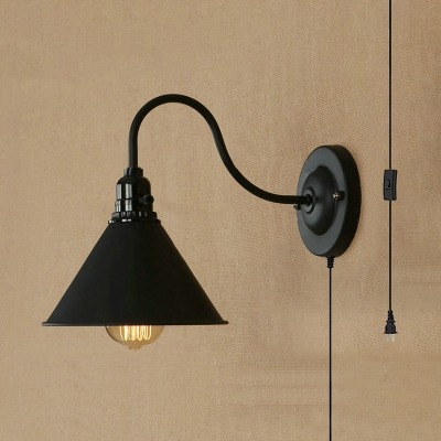 Metal Cone Shade Wall Sconce 1 Light Antique Style Plug In Wall .