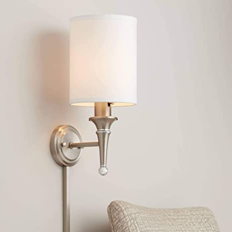 Braidy Brushed Nickel Plug-in Wall Sconce - Possini Euro Design .