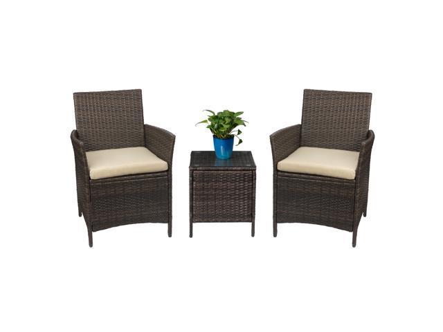 Devoko Patio Porch Furniture Set 3 Piece PE Rattan Wicker Chairs .