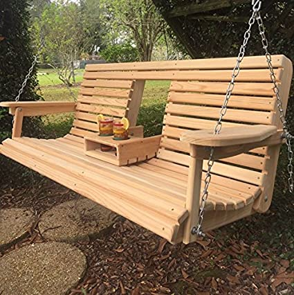 Amazon.com : 5 Ft Cypress Porch Swing with Flip Down Console Cup .