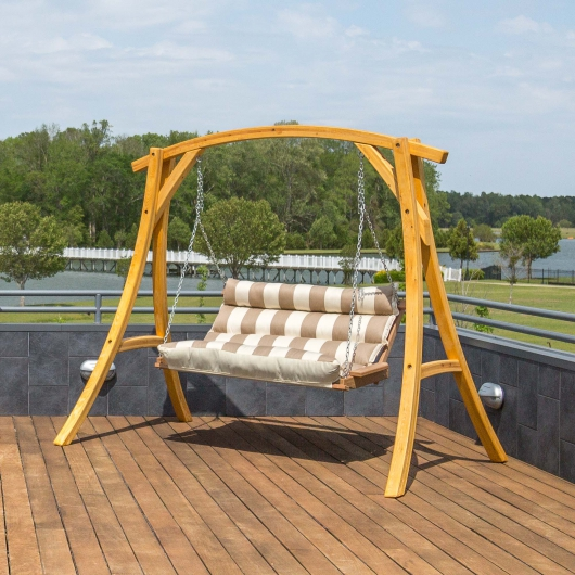 Double Cushioned Porch Swing – Regency Sand – Swings and Things .
