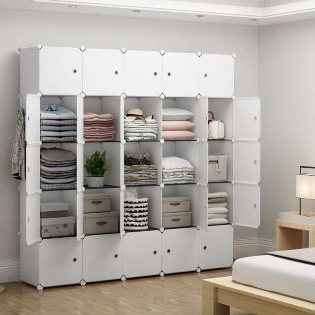 Portable Closet Wardrobe for Kids Plastic Dresser, White, 5x5 .