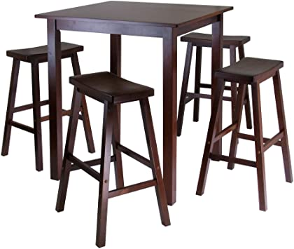 Amazon.com - Winsome Parkland 5-Pc High/Pub Table Set, Walnut - Tabl