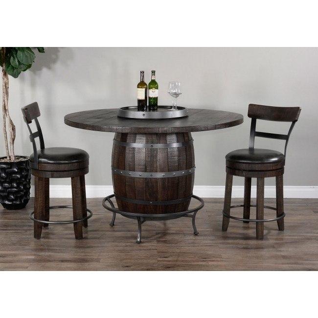 Homestead Round Wine Barrel Base Pub Table Set Sunny Designs .