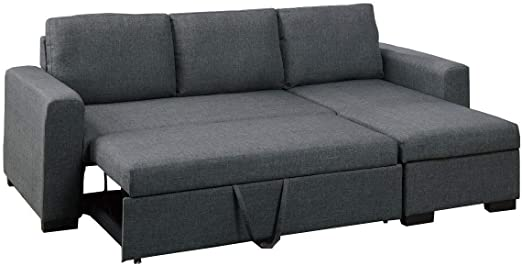 Amazon.com: Major-Q Blue Grey Pull-Out Sleeper Sectional Sofa with .