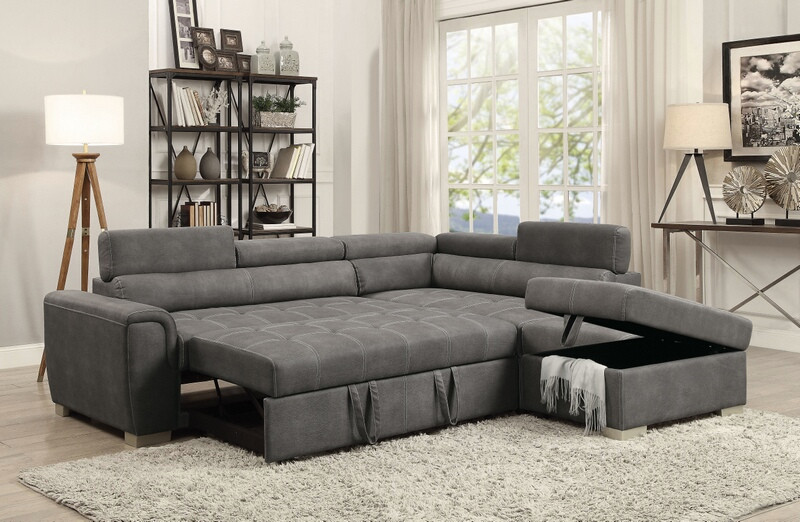 Acme 50275 3 pc Marrero thelma grey polished microfiber sectional .