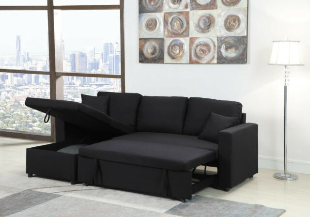 Alcester Sectional Sofa Pull out Bed Storage Chaise Graphite Fabri .