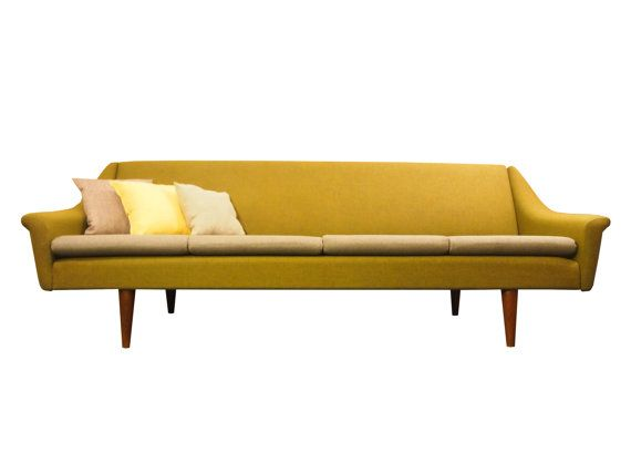 Danish Mid Century Modern Teak and Wool Pull Out Sofa Bed Vintage .