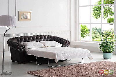 Brown Italian Leather Button Tufted Chesterfield Pull-Out Sleeper .