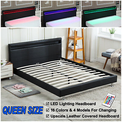 Queen Size Bed Frame Bedroom Platform w/ LED Light Headboard .