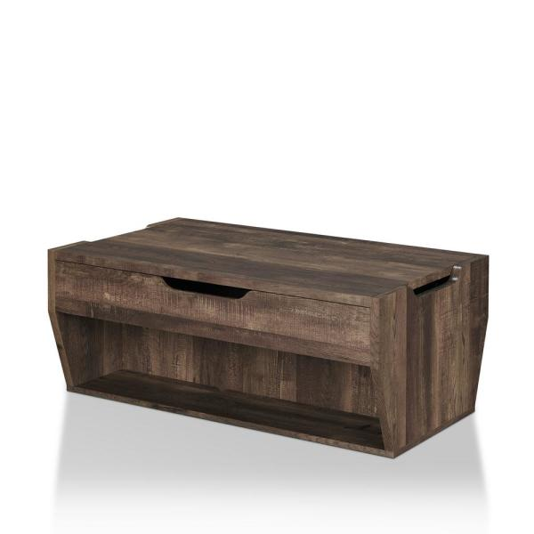 Furniture of America Anthem Reclaimed Oak Lift-Top Coffee Table .
