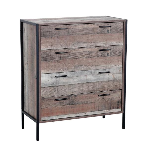 OS Home and Office Furniture 4-Spacious Drawers Rustic Reclaimed .