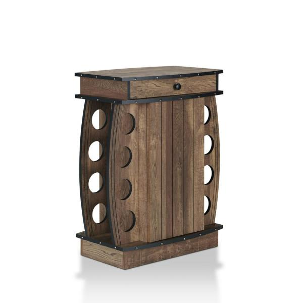 Furniture of America Camby Reclaimed Oak 8-Bottle Wine Cabinet HFW .