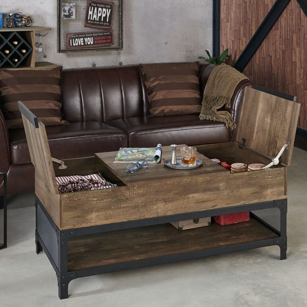 Shop Furniture of America Domy Industrial Reclaimed Oak Lift-Top .