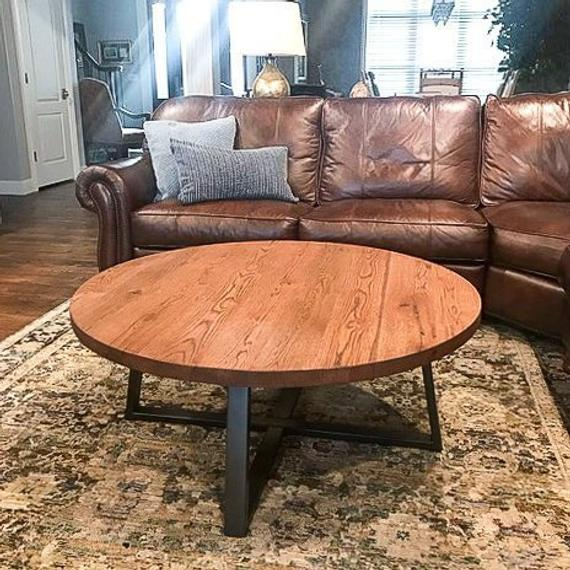 Round Coffee Table / Rustic Reclaimed Wood and Industrial | Et