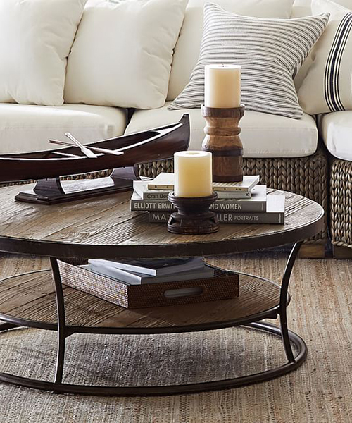 Round Reclaimed Wood Coffee Table | Rustic Living Room Furnitu