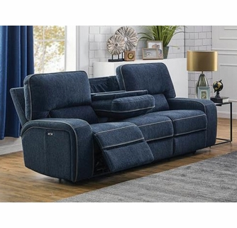 Groveland Navy Blue Wood 2xPower Recliner Sofa by Coast