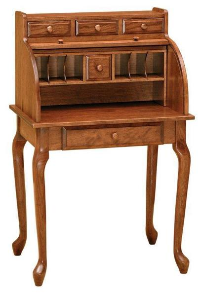 Queen Anne Style Secretary Roll Top Desk from DutchCrafters Ami