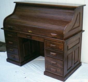 Custom Walnut Roll Top Desk, Amish Style, County Classic by Tom .