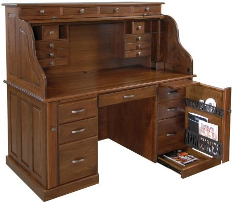 Professors Walnut Roll Top Desk - Countryside Amish Furnitu
