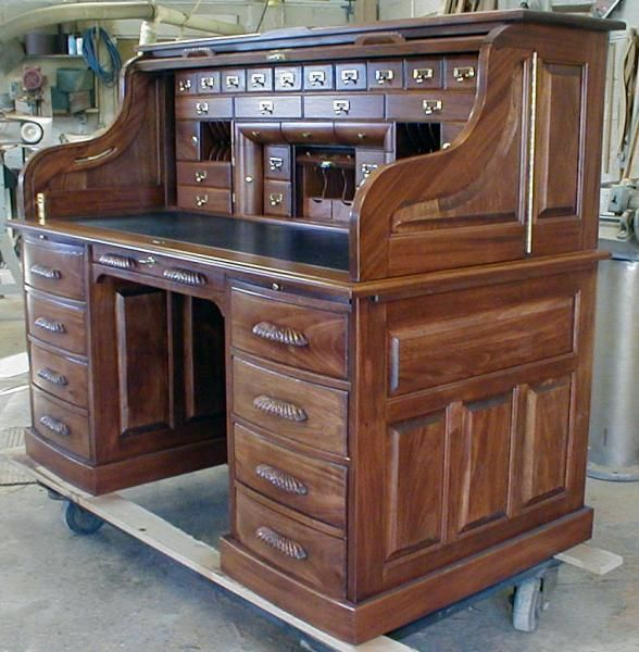 Handmade Custom Built Roll Top Desk by Roll Top Desk Works .