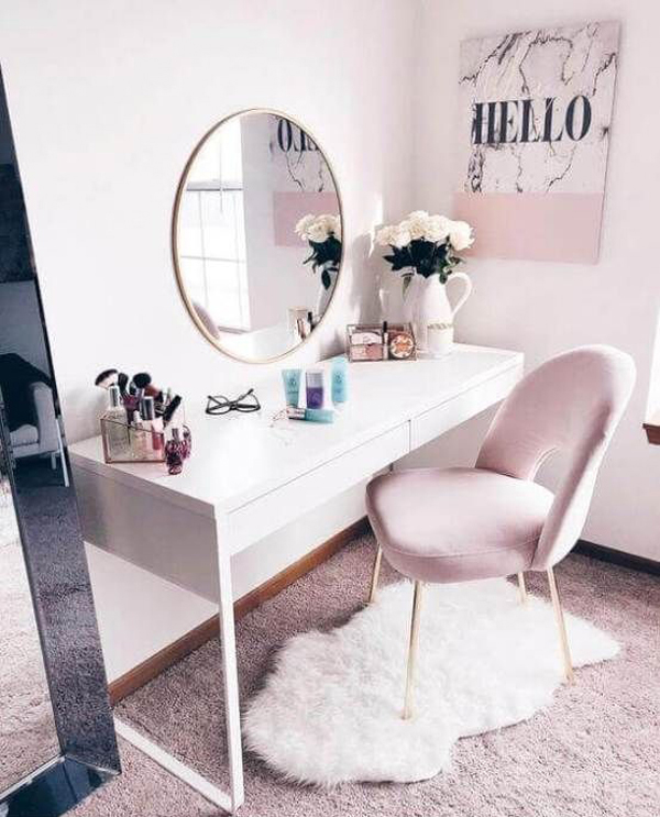 40 Feminine Makeup Room Ideas That Women Must Have | HomeMydesi