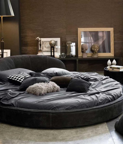 Jazz leather covered round bed - I