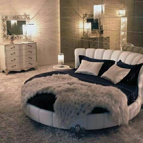 Chic bedroom with round bed | Luxury bed frames, Bedroom designs .