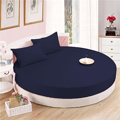 Navy Blue Round Bed Sheets Set Solid Bliss Sateen - AanyaLin