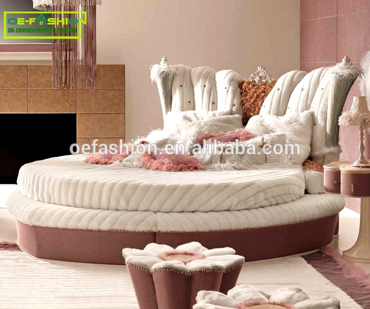 Luxury Hot Sell King Size Round Bed/luxury Round Velvet Bed .