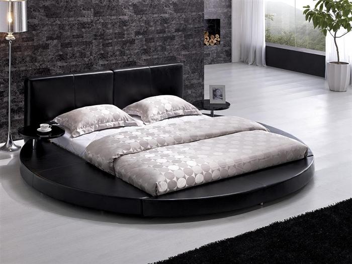 Modern Black Leather Headboard Round Bed - Queen TOS-T009-BLK