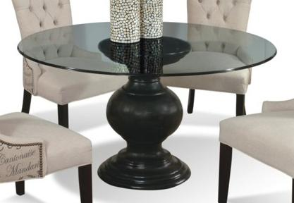 "CMI Serena 60"" Round Glass Dining Table with Pedestal Base ."