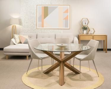 Cowell in 2020 | Glass round dining table, Dining table small .