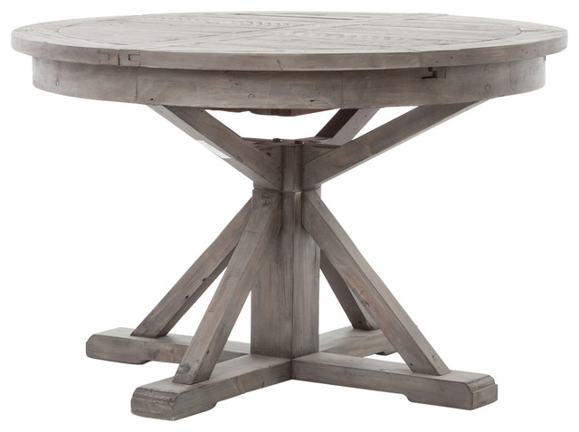 "Cintra Reclaimed Wood Expandable Round Kitchen Table 47"", Gray ."