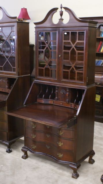 Mahogany serpentine front secretary desk This would match that .
