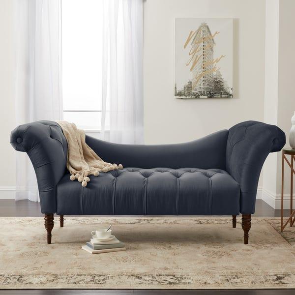 Shop Skyline Furniture Custom Tufted Twill Settee Sofa - Overstock .