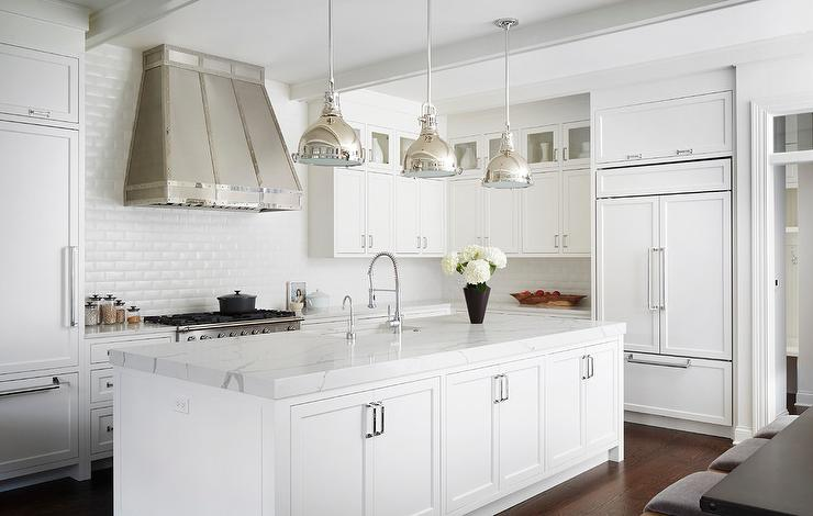 Small Glass Cabinets Stacked on White Shaker Kitchen Cabinets .