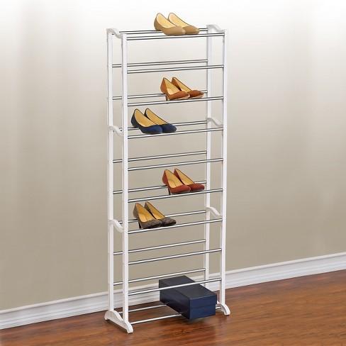 Lynk 30 Pair Shoe Rack - 10 Tier - Shoe Shelf Organizer - White .